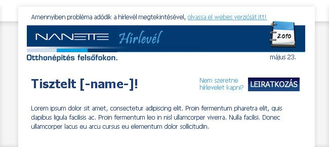 Nanette viaMail.hu eDM sablon